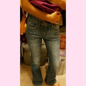 "Justice ""simply low"" sparkly flare jeans"